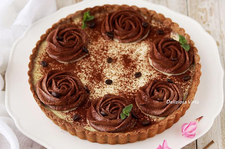 crostata caffè, panna cotta e cioccolato bianco