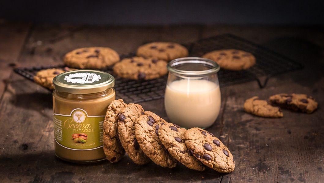 Chocolate chip cookies al pistacchio